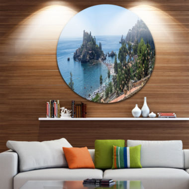 Design Art Taormina Island Panoramic View Landscape Photography Circle Metal Wall Art
