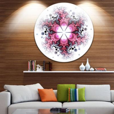 Design Art Violet Fractal Flower Pattern AbstractRound Circle Metal Wall Decor Panel
