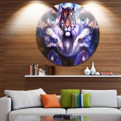 Design Art Tiger Eagles and Woman Eyes Collage Animal Metal Circle Wall Art