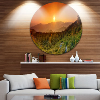 Design Art Summer in Mountains Panorama Abstract Round Circle Metal Wall Decor Panel