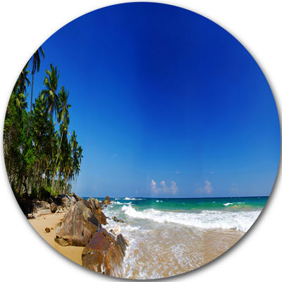 Design Art Tropical Paradise Disc Landscape Photography Circle Metal Wall Art