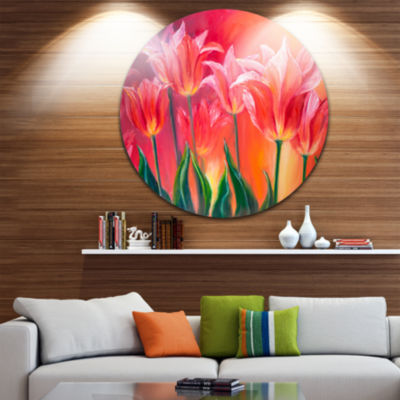 Design Art Tulips in Red Shade Floral Circle MetalWall Art