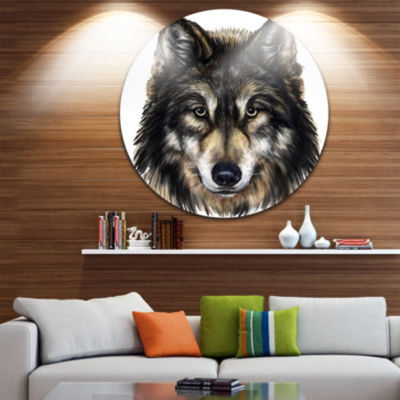 Design Art Wolf Head Animal Circle Metal Wall Art
