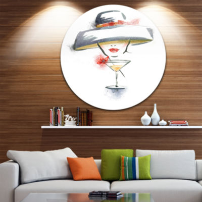 Design Art Woman with Hat and Cocktail Disc Watercolor Portrait Circle Metal Wall Art