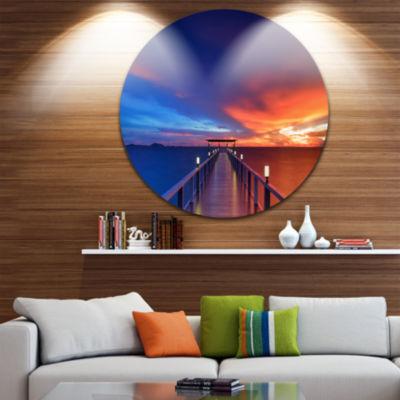 Design Art Wooden Pier Seascape Photography CircleMetal Wall Art