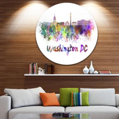 Design Art Washington DC Skyline Disc Cityscape Metal Artwork Print