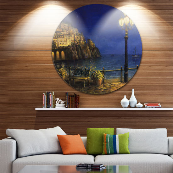 Design Art Summer Evening in Amalfi Landscape Circle Metal Wall Art
