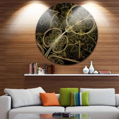 Design Art Yellow Metallic Fabric Pattern Disc Large Contemporary Circle Metal Wall Arts
