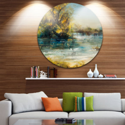 Design Art Trees by the Lake Landscape Circle Metal Wall Art