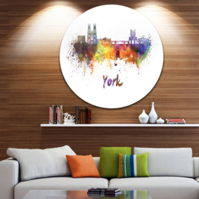 Design Art York Skyline Disc Cityscape Metal Artwork Print