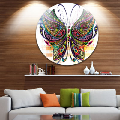Design Art Variegated Butterfly Disc Large Contemporary Circle Metal Wall Arts