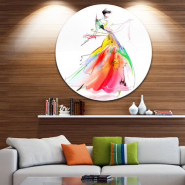 Design Art Young Woman Yellow Red Abstract Portrait Circle Metal Wall Art