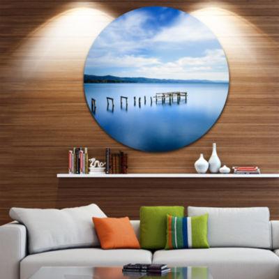 Design Art White Clouds and Blue Sea Seascape Circle Metal Wall Art