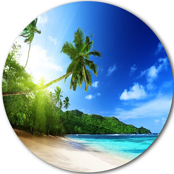 Design Art Sunset Beach with Palm Disc Landscape Photography Circle Metal Wall Art