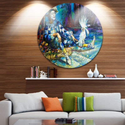 Design Art The Harlequin and White Parrot Contemporary Metal Circle Wall Art