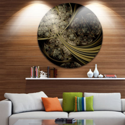 Design Art White Metallic Fabric Pattern Disc Large Contemporary Circle Metal Wall Arts