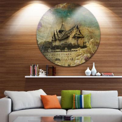 Design Art Vintage Style Sky Castle Disc Contemporary Artwork on Circle Metal Wall Art