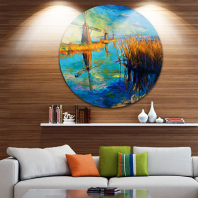Design Art Windmills with Sky and Water LandscapeCircle Metal Wall Art