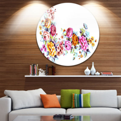 Design Art Yellow and Pink Flowers Disc Floral Circle Metal Wall Art