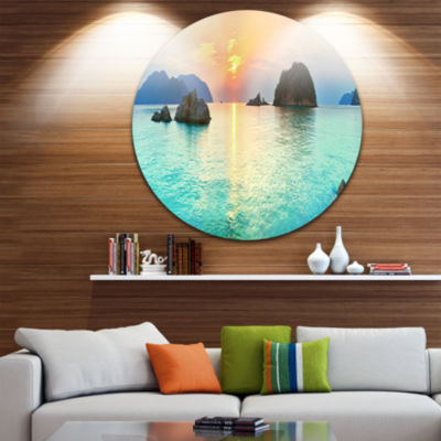 Design Art Sunrise Panorama Photography Circle Metal Wall Art
