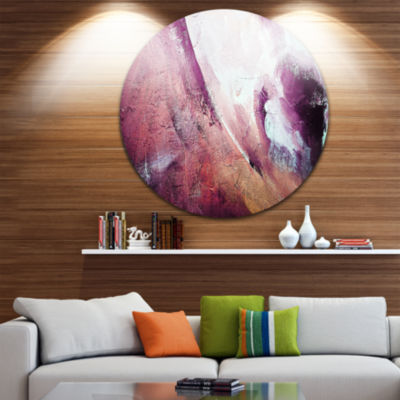 Design Art White and Purple Texture Disc AbstractCircle Metal Wall Art