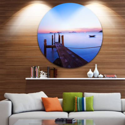 Design Art Wooden Pier at Sunset Seascape Photography Circle Metal Wall Art