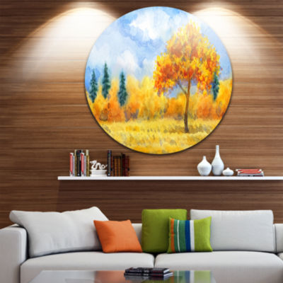 Design Art Yellow Trees Disc Watercolor Painting Landscape Circle Metal Wall Art