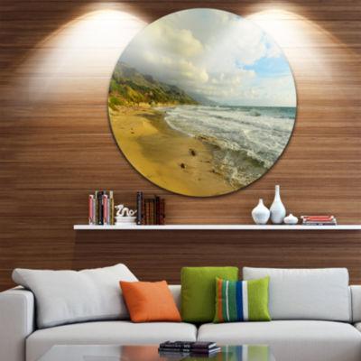 Design Art Waves Meet Sand Disc Landscape Photography Circle Metal Wall Art