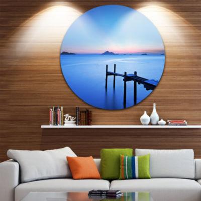 Design Art Wooden Pier in Blue Sea Seascape CircleMetal Wall Art