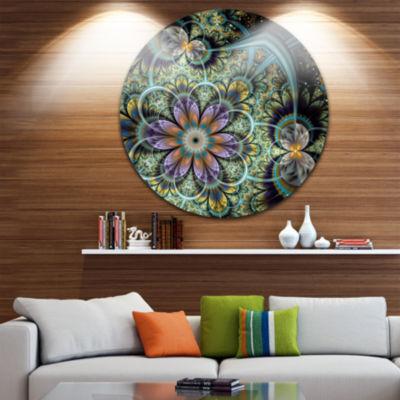 Design Art Symmetrical Green Fractal Flower Disc Large Floral Circle Metal Wall Art