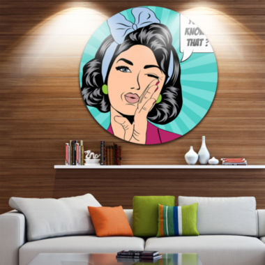 Design Art Woman in Comic Style Abstract PortraitCircle Metal Wall Art