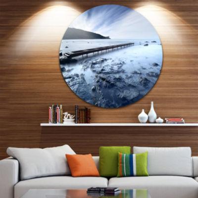 Design Art Wooden Pier Deep into Sea Seascape Circle Metal Wall Art