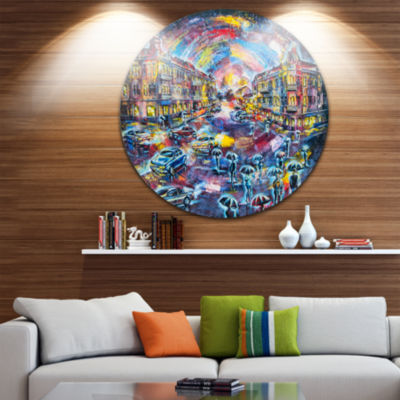 Design Art Surreal City at Night Cityscape Large Metal Artwork