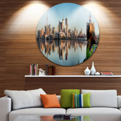 Design Art Toronto City Skyline Panorama Disc Cityscape Photography Circle Metal Wall Art