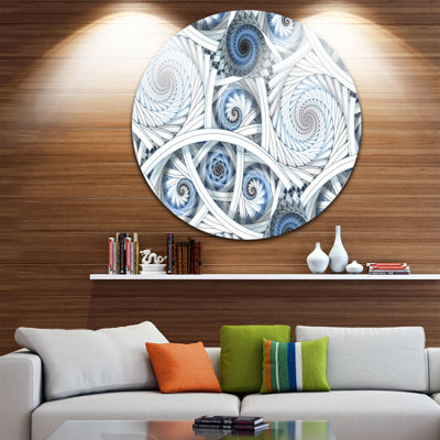 Design Art White Spiral with Blue Fractal Art DiscLarge Abstract Circle Metal Wall Art