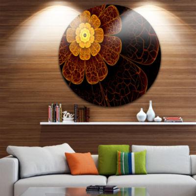 Design Art Symmetrical Orange Fractal Flower DiscFloral Circle Metal Wall Art