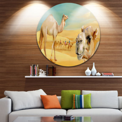 Design Art Wandering Camels in Desert Disc Watercolor Animal Circle Metal Wall Art