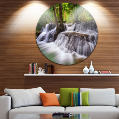 Design Art Waterfall Huai Mae Kamin Disc LandscapeCircle Metal Wall Art