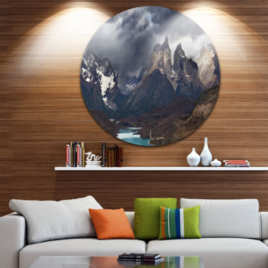 Design Art Torres Del Paine Cuernos Mountains DiscPhotography Circle Metal Wall Art
