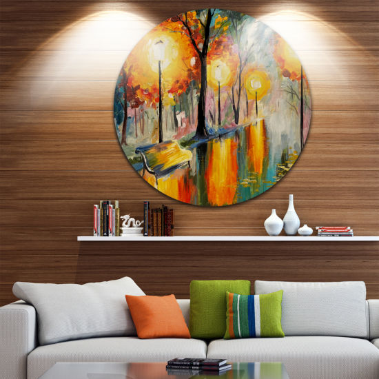 Design Art Street in Autumn Landscape Circle MetalWall Art