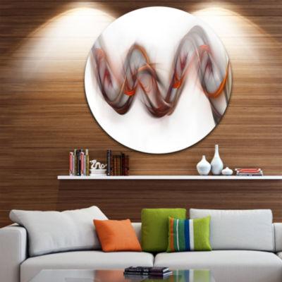 Design Art Tangled Brown Silver Waves Abstract Circle Metal Wall Art