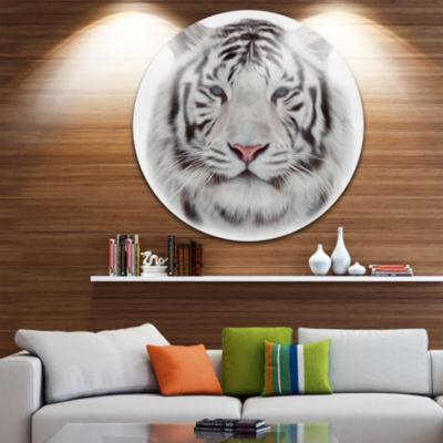 Design Art White Bengal Tiger Animal Circle MetalWall Art