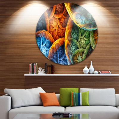 Design Art Vibrant Colorful Clouds Abstract RoundCircle Metal Wall Decor