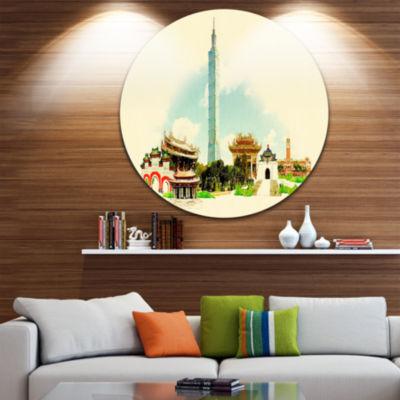 Design Art Taipei Panoramic View Disc Cityscape Watercolor Circle Metal Wall Art