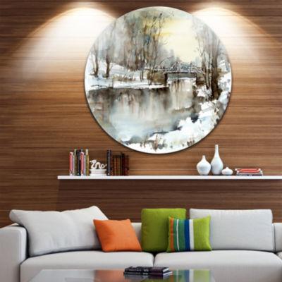 Design Art White Bridge Over River Landscape Circle Metal Wall Art