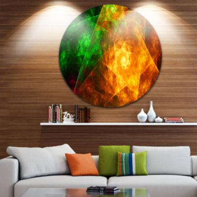 Design Art Yellow Rotating Polyhedron Abstract Round Circle Metal Wall Decor