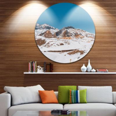 Design Art Winter Mountains in Azerbaijan Disc Landscape Photography Circle Metal Wall Art