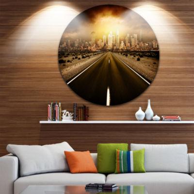 Design Art World's End Landscape Photography Circle Metal Wall Art