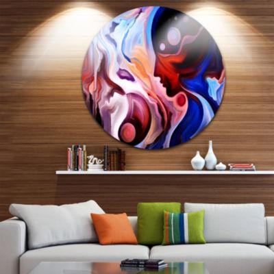 Design Art Watching Woman Painting Disc Abstract Circle Metal Wall Art