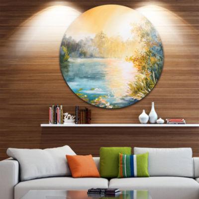 Design Art Sunset on the Lake Landscape Circle Metal Wall Art